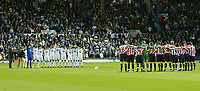 Photo. Andrew Unwin. Digitalsport<br /> Leeds United v Sunderland, Coca-Cola Championship, Elland Road, Leeds 24/09/2004.<br /> Sunderland (R) and Leeds United (L) stand for a minute's silence in memory of former player and manager, respectively, Brian Clough.