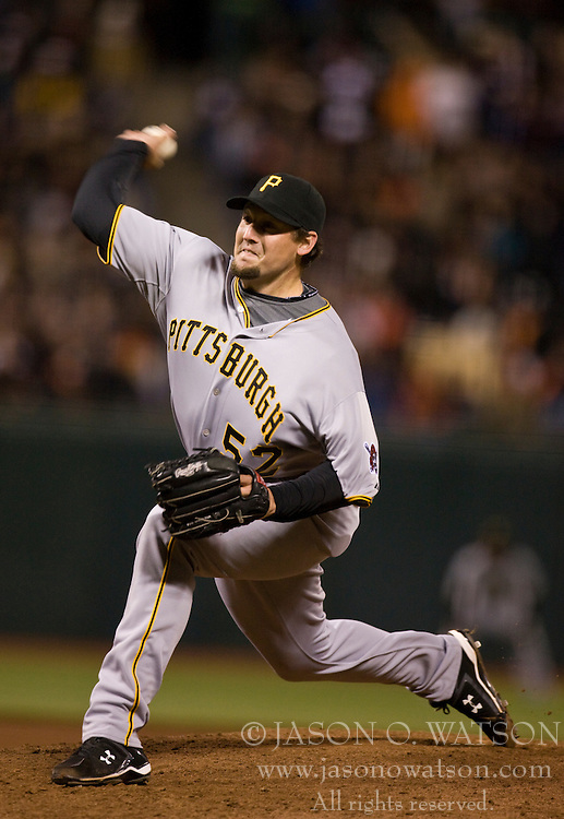 April 12, 2010; San Francisco, CA, USA;  Pittsburgh Pirates relief pitcher Joel Hanrahan (52) during the seventh inning against the San Francisco Giants at AT&T Park. San Francisco defeated Pittsburgh 9-3.