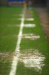 BIRKENHEAD, ENGLAND - Thursday, March 25, 2010: Prenton Park's waterlogged pitch as Liverpool take on Wigan Athletic during the FA Premiership Reserves League (Northern Division) match at Prenton Park. (Photo by David Rawcliffe/Propaganda)