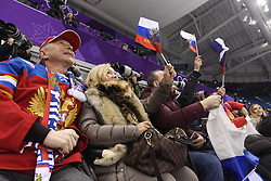 February 8, 2018 - Pyeongchang, South Korea - Russian figure skating fans cheer for Athletes of Russia skater MIKHAIL KOLYADA, February 9, 2018, during the Mens Short Program Team event on opening day of the Figure Skating Team competition at the Winter Olympic Games in at the Gangneung Ice Arena in Pyeongchang, S. Korea.  Photo by Mark Reis, ZUMA Press/The Gazette (Credit Image: © Mark Reis via ZUMA Wire)