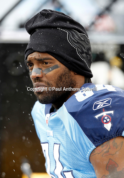 Tennessee Titans wide receiver Randy Moss (84) looks on from the bench during the NFL week 13 football game against the Jacksonville Jaguars on Sunday, December 5, 2010 in Nashville, Tennessee. The Jaguars won the game 17-6. (©Paul Anthony Spinelli)