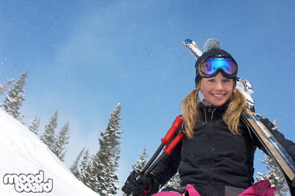 Teenage Girl on the Ski Slope