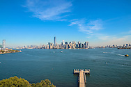 Liberty Island. View of Manhattan and boats.