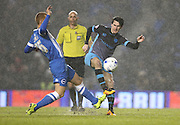 Brighton midfielder Steve Sidwell (36) and Sheffield Wednesday midfielder Kieran Lee (20) during the Sky Bet Championship match between Brighton and Hove Albion and Sheffield Wednesday at the American Express Community Stadium, Brighton and Hove, England on 8 March 2016.