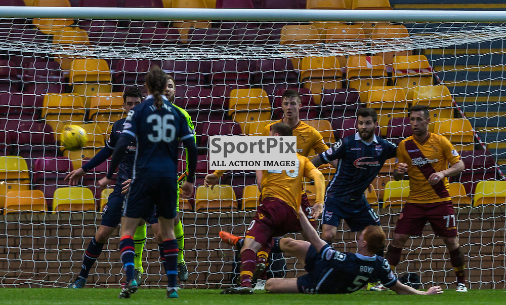Scott Boyd pulls down Louis Moult in the penalty area during the match between Motherwell and Ross County (c) ROSS EAGLESHAM | Sportpix.co.uk