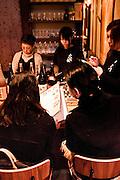 Customers dining on shellfish at Daiyasu. Nishiki Market, Kyoto