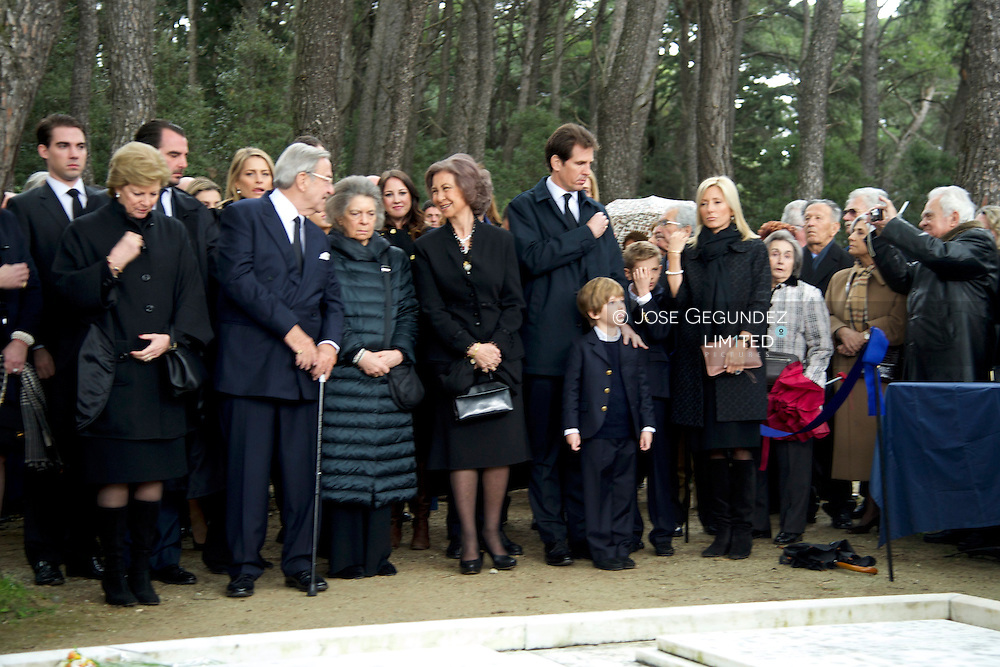 Queen Sofia of Spain, Prince Felipe of Spain, Princess Letizia of Spain, Princess Cristina of Spain, Princess Elena of Spain, Princess Irene of Greece, King Constantine of Greece, Queen Ana Maria of Greece,  Pavlos, Crown Prince of Greece and Marie-Chantal Miller, Princess Alexia of Greece, Princess Tatiana of Greece, Prince Nikolaos of Greece attends a funeral of King Pavlos of Greece (Paul of Greece) at Tatoi Cemetery on March 6, 2014 in Athens, Greece
