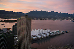 Aerial view of Canada Place at sunset, Vancouver, British Columbia, Canada