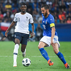 Ousmane Dembele of France and Leonardo Bonucci of Italy during the International Friendly match between France and Italy at Allianz Riviera Stadium on June 1, 2018 in Nice, France. (Photo by Anthony Dibon/Icon Sport)