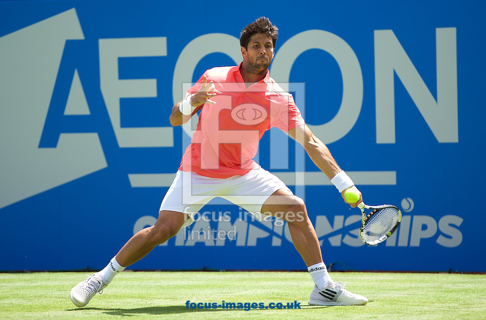 Fernando Verdasco (ESP) during his first round match against Roberto Bautista Agut (ESP) in the Aegon Championships at the Queen's Club, West Kensington<br /> Picture by Alan Stanford/Focus Images Ltd +44 7915 056117<br /> 15/06/2015