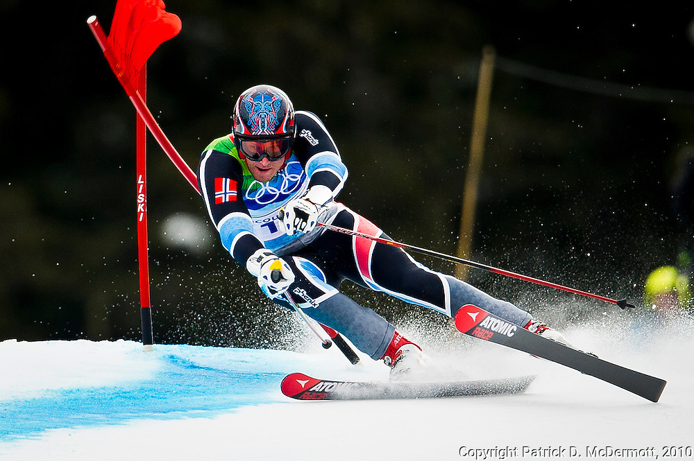 Aksel Lund Svindal, NOR, competes in the Men's Giant Slalom during the 2010 Vancouver Winter Olympics in Whistler, British Columbia, Tuesday, Feb. 23, 2010. Svindal won the bronze medal with his third place finish.