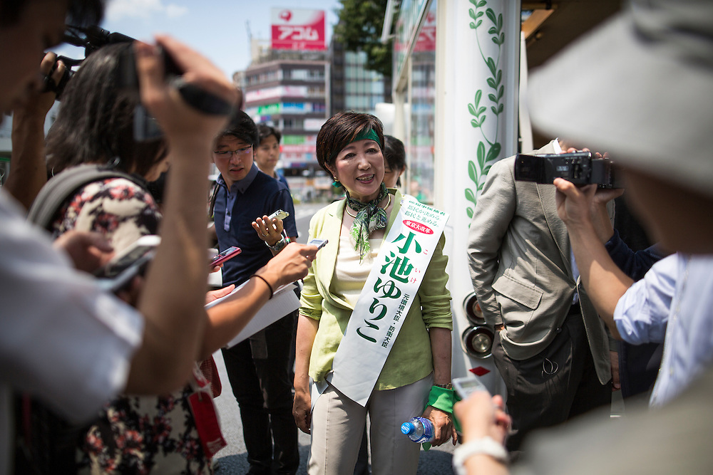 TOKYO, JAPAN - JULY 20 : Yuriko Koike, a Liberal Democratic Party lawmaker and former defense minister speaks with the local media after her speech campaign for the July 31 Tokyo gubernatorial election in front of Gotanda Station in Tokyo, Japan on Wednesday, July 20, 2016.   (Photo by Richard Atrero de Guzman/NUR Photo)