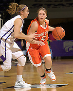 Idaho State guard Jeni Boesel (R) drives up court against pressure from Kansas State's Shelee Lehning (L) during the first half at Bramlage Coliseum in Manhattan, Kansas, March 17, 2006.  K-State defeated the Bengals 88-68 in the first round of the WNIT.