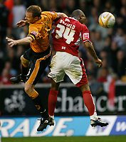 Photo: Steve Bond/Sportsbeat Images.<br /> Wolverhampton Wanderers v Bristol City. Coca Cola Championship. 03/11/2007. Darren Byfield (R) gets the nod on Jody Craddock (L)