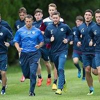 St Johnstone Training....24.07.15<br /> David Wotherspoon, Tam Scobbie, John Sutton and Brad McKay lead the run during training this morning<br /> Picture by Graeme Hart.<br /> Copyright Perthshire Picture Agency<br /> Tel: 01738 623350  Mobile: 07990 594431