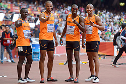 29-08-2015 CHN: IAAF World Championships Athletics  Solomon Bocharie, Patrick van Luijk, Liemarvin Bonevacia and Hensley Paulinaof Netherlands  in the Men's 4x100 Metres Relay heats Photo by Ronald Hoogendoorn / Sportida