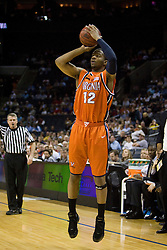 Virginia forward Jamil Tucker (12) shoots a jump shot against GT. The Virginia Cavaliers fell to the Georgia Tech Yellow Jackets 94-76  in the first round of the 2008 ACC Men's Basketball Tournament at the Charlotte Bobcats Arena in Charlotte, NC on March 13, 2008.