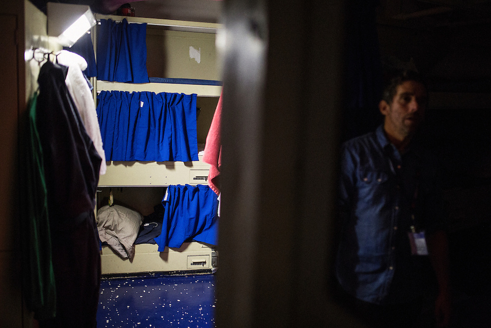 A standard bunk room <br /> <br /> Aboard the USS Harry S. Truman operating in the Persian Gulf. February 25, 2016.<br /> <br /> Matt Lutton / Boreal Collective for Mashable