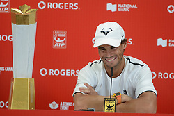 August 12, 2018 - Toronto, Ontario, Canada - RAFAEL NADAL of Spain speaks with the media after winning the Rogers Cup tennis tournament. (Credit Image: © Christopher Levy via ZUMA Wire)