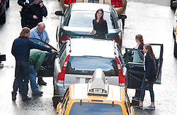 """Brad Pitt and co-star Mireille Enoson, and family on the set of the movie """"World War Z"""" being shot in the city centre of Glasgow. The film, which is set in Philadelphia, is being shot in various parts of the Glasgow, transforming it to shoot the post apocalyptic zombie film."""