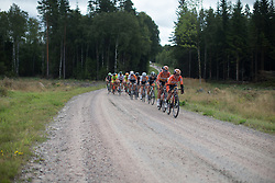 Karol-Ann Canuel (CAN) of Boels-Dolmans Cycling Team leads the peloton through the third gravel section of the 141 km road race of the UCI Women's World Tour's 2016 Crescent Vårgårda women's road cycling race on August 21, 2016 in Vårgårda, Sweden. (Photo by Balint Hamvas/Velofocus)