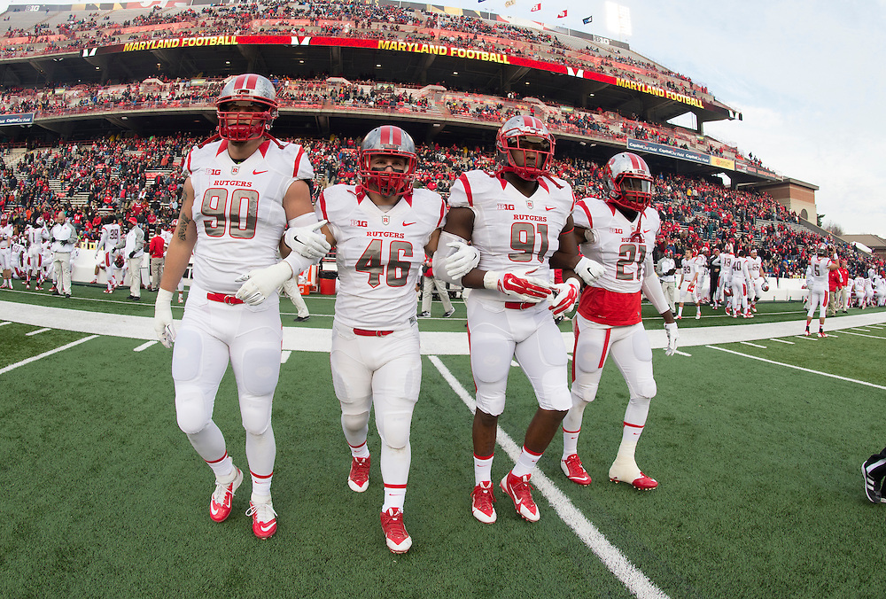 The Rutgers Scarlet Knights take on the Maryland Terrapins during their final regular season game at Capital One Stadium in College Park, MD on Saturday afternoon, November 29, 2014.<br />