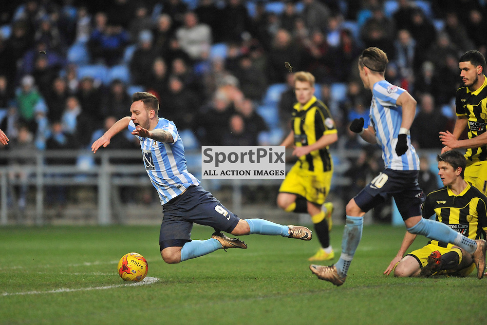 Burtons Shane Cansdell-Sherriff brings down Coventrys Adam Armstrong WHICH THEY INSISTED HE DIVED, Coventry City v Burton Albion, Ricoh Arena,  Sky Bet League 1, Saturday 16th JJanuary 2016