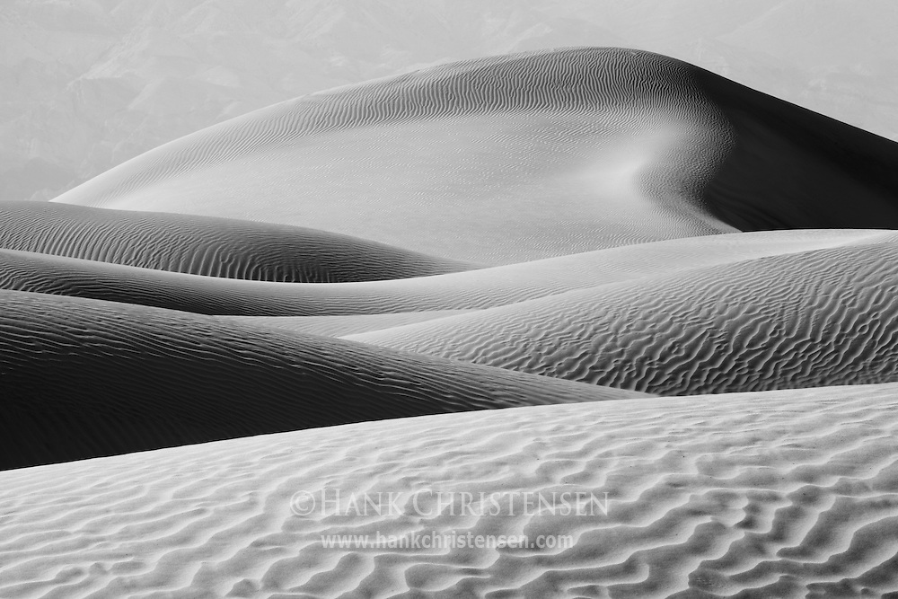 Wind and weather carve the Mesquite Dunes into endless shapes and textures, Death Valley National Park