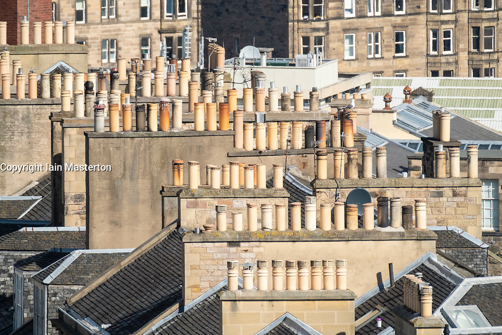 View of chimney pots on rooftops of the New Town in Edinburgh, Scotland, United Kingdom, UK