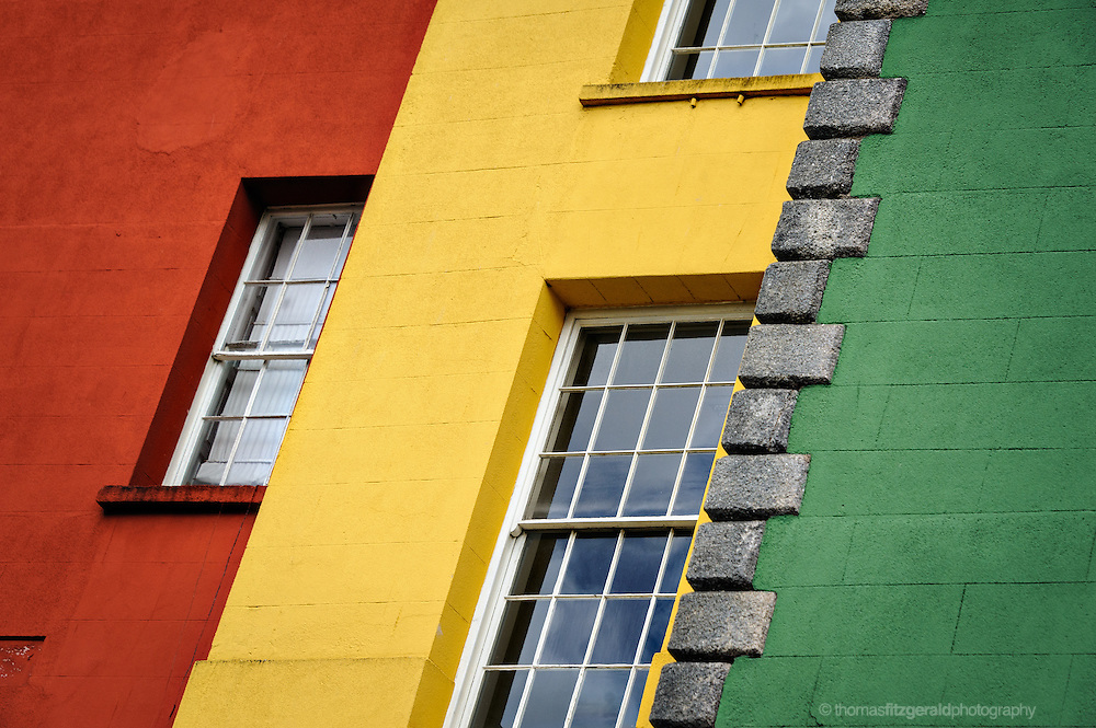 The multicoloured walls of some of the Buildings inside Dublin Castle