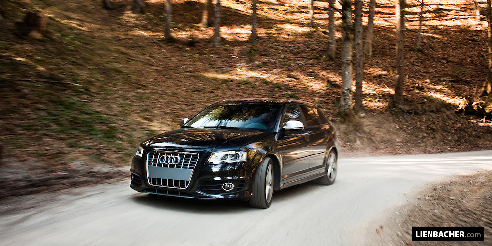 A black 2009 Audi S3 Sportback shot driving on austrian mountain-roads. Photo: Wolfgang Lienbacher