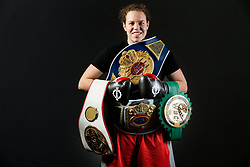 Ema Kozin alias The Princess, Slovenian middleweight boxer posing with her Trophy belts at photo session in a gym, on January 5, 2018 in FIT 13, Ljubljana, Slovenia. Photo by Vid Ponikvar / Sportida