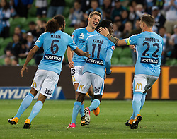 October 6, 2017 - Melbourne, Victoria, Australia - Melbourne, Victoria, Australia - Bruce Kamau (#11) of Melbourne City celebrates with team mates after scoring a goal during the round 1 match between Melbourne City and Brisbane Roar at AAMI Park in Melbourne, Australia during the 2017/2018 Australian A-League season. (Credit Image: © Theo Karanikos via ZUMA Wire)