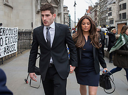 © Licensed to London News Pictures. 23/03/2016. London, UK. Footballer Ched Evans and his girlfriend Natasha Massey arrive at The Royal Courts of Justice on the second day of his  appeal hearing over his rape conviction.  Photo credit: Peter Macdiarmid/LNP