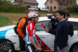 Christine Majerus of Boels Dolmans gives an interview after winning Stage 1 of the Festival Elsy Jacobs - a 97.7 km road race, starting and finishing in Steinfort on April 28, 2018, in Luxembourg. (Photo by Balint Hamvas/Velofocus.com)