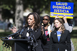 October 3, 2017 - Washington, District Of Columbia, USA - United States Senator KAMALA HARRIS (D-CA) speaks to the media about Deferred Action for Childhood Arrivals (DACA) outside the United States Capitol Building. (Credit Image: © Alex Edelman via ZUMA Wire)