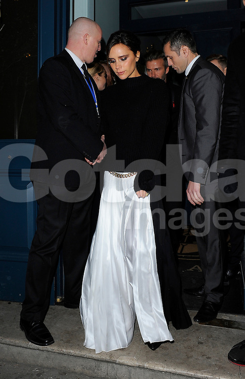 Victoria Beckham and David Beckham attend the British Fashion Awards at London Coliseum, UK. 01/12/2014<br />BYLINE MUST READ : GOTCHAIMAGES.COM<br /><br />Copyright by &copy; Gotcha Images Ltd. All rights reserved.<br />Usage of this image is conditional upon the acceptance <br />of Gotcha Images Ltd, terms and conditions available at<br />www.gotchaimages.com