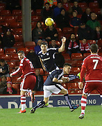 Dundee&rsquo;s Darren O&rsquo;Dea heads clear from Aberdeen&rsquo;s David Goodwillie - Aberdeen v Dundee, Ladbrokes Premiership at Pittodrie<br /> <br />  - &copy; David Young - www.davidyoungphoto.co.uk - email: davidyoungphoto@gmail.com