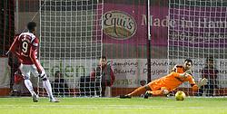 Hamilton Academical's Rakish Bingham sees his penalty saved by Rangers Wes Foderingham during the Scottish Premiership match at New Douglas Park, Hamilton.