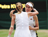 Tennis - 2019 Wimbledon Championships - Week Two, Monday (Day Seven)<br /> <br /> Women's Singles, Fourth Round: Johanna Konta (GBR) v Petra Kvitova (CZE)<br /> <br /> Johanna Konta at the net after the match with Petra Kvitova, on Centre court .<br /> <br /> COLORSPORT/ANDREW COWIE