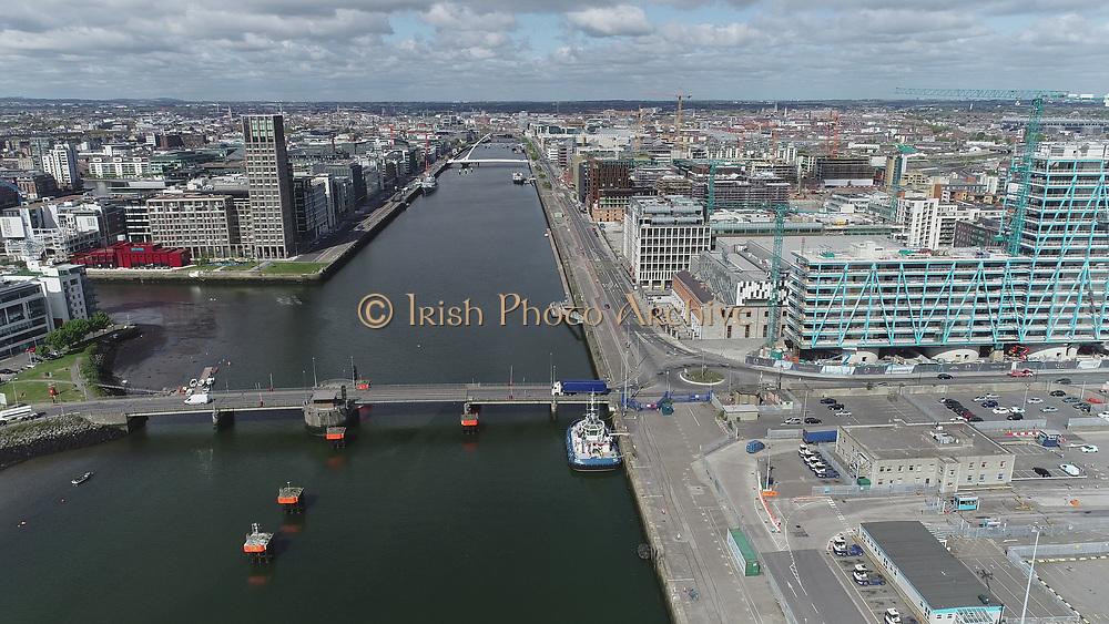 Aerial Still images around Dublin Port during COVID 19 lockdown, Stenna, CLdN, P&O, Cobbelfreight, Tolka Quay, Alexander Rd, Terminal 1,2 ,3, River Liffey, EXO, Building, East Link, Bridge, River Liffey, Samual Beckett Bridge, Capitol Dock, North Quay, Wall,