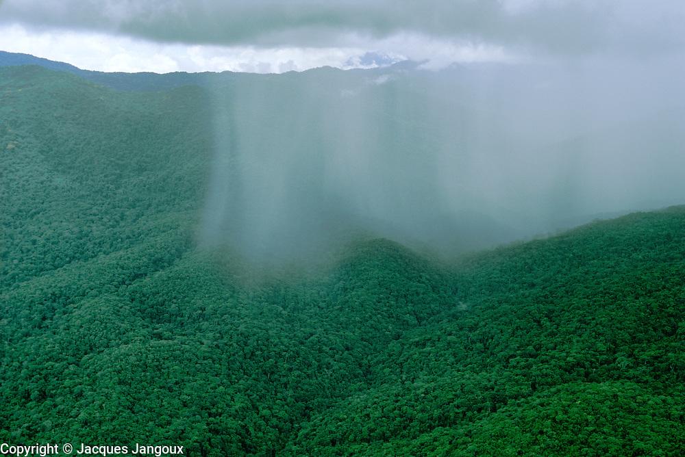 Aerial of tropical rainstorm showing rainshaft over rainforest in Guyana Highlands, Venezuela.