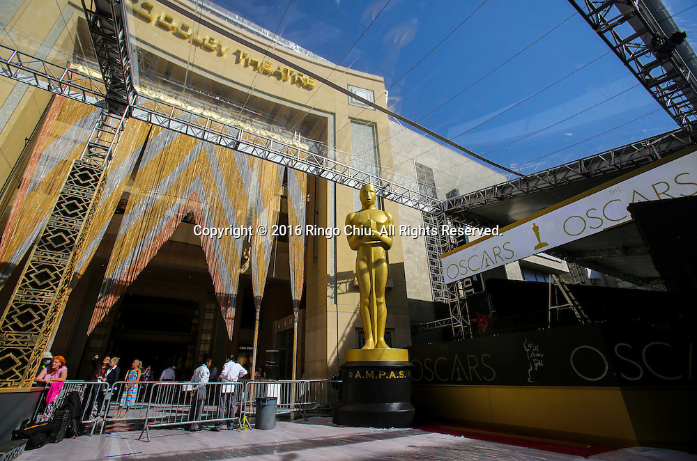 An Oscar statue stands at the entrance to the Dolby Theatre on Thursday Feb. 25, 2016 in Los Angeles. The 88th Academy Awards will be held Sunday, February 28, 2016. (Photo by Ringo Chiu/PHOTOFORMULA.com)<br /> <br /> Usage Notes: This content is intended for editorial use only. For other uses, additional clearances may be required.