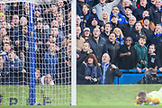 Chelsea FC supporters in anticipation of a goal as Jordan Pickford (GK) (Everton) lays on the ground during the Premier League match between Chelsea and Everton at Stamford Bridge, London, England on 11 November 2018.