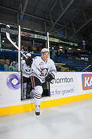 KELOWNA, CANADA - NOVEMBER 6: Matt Bellerive #27 of the Red Deer Rebels enters the ice at warm up against the Kelowna Rockets on NOVEMBER 6, 2013 at Prospera Place in Kelowna, British Columbia, Canada.   (Photo by Marissa Baecker/Shoot the Breeze)  ***  Local Caption  ***