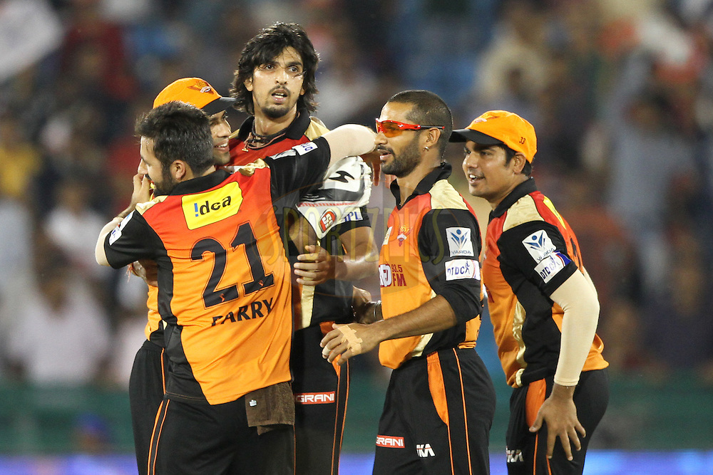 Ishant Sharma , Shikhar Dhawan of the Sunrisers Hyderabad celebrates his team victory during match 45 of the Pepsi IPL 2015 (Indian Premier League) between The Delhi Daredevils and the Sunrisers Hyderabad held at the Shaheed Veer Narayan Singh International Cricket Stadium in Raipur, India on the 9th May 2015.<br /> <br /> Photo by:  Deepak Malik / SPORTZPICS / IPL