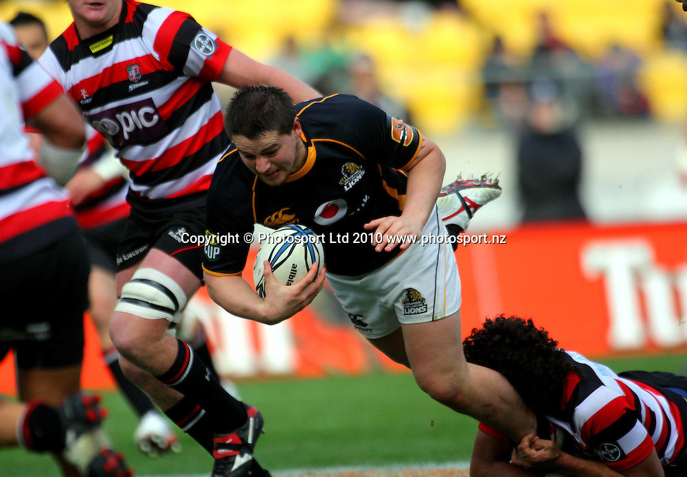 Wellington hooker Dane Coles is tackled. ITM Cup - Wellington Lions v Counties-Manukau Steelers at Westpac Stadium, Wellington, New Zealand on Sunday, 8 August 2010. Photo: Dave Lintott/PHOTOSPORT