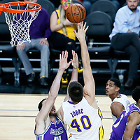 08 October 2017: Los Angeles Lakers center Ivica Zubac (40) goes for the baby hook over Sacramento Kings center Kosta Koufos (41) during the LA Lakers 75-69 victory over the Sacramento Kings, at the T-Mobile Arena, Las Vegas, Nevada, USA.