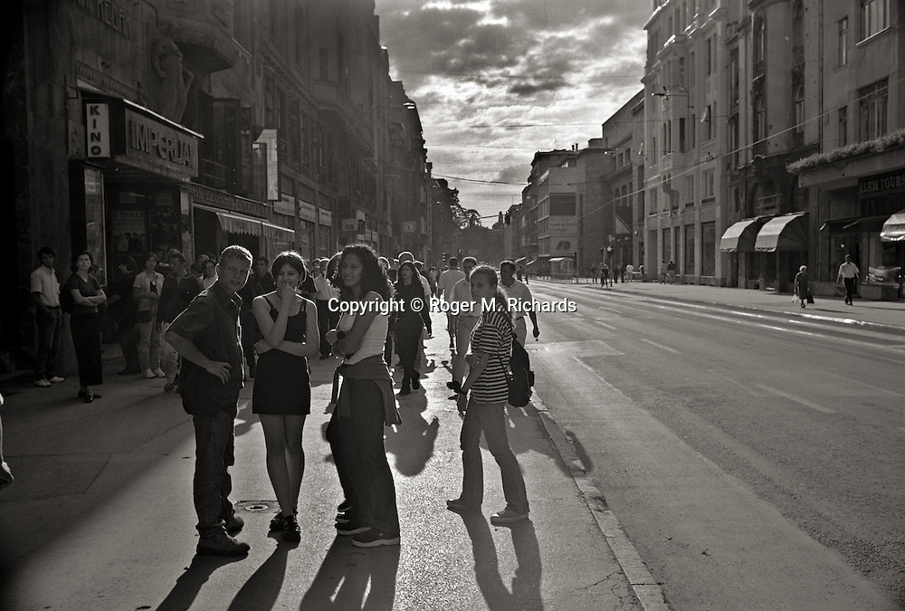 Youngsters in downtown Sarajevo, August 1999.