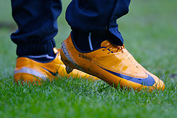 WIGAN, ENGLAND - Sunday, January 20, 2008: The orange boots of Everton's Manuel Fernandes during the Premiership match at the JJB Stadium. (Photo by David Rawcliffe/Propaganda)